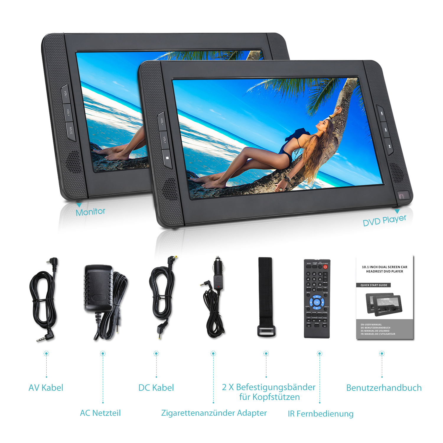 10 zoll 2 monitore tragbarer dvd player kopfst tze auto. Black Bedroom Furniture Sets. Home Design Ideas