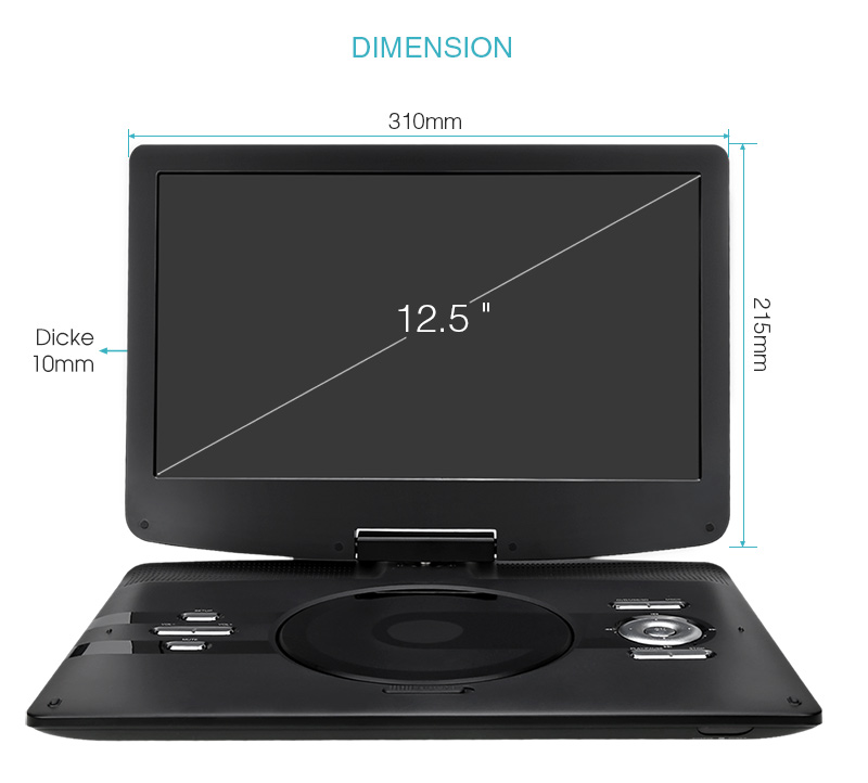 12 5 auto tragbarer dvd cd player drehbarem tft. Black Bedroom Furniture Sets. Home Design Ideas