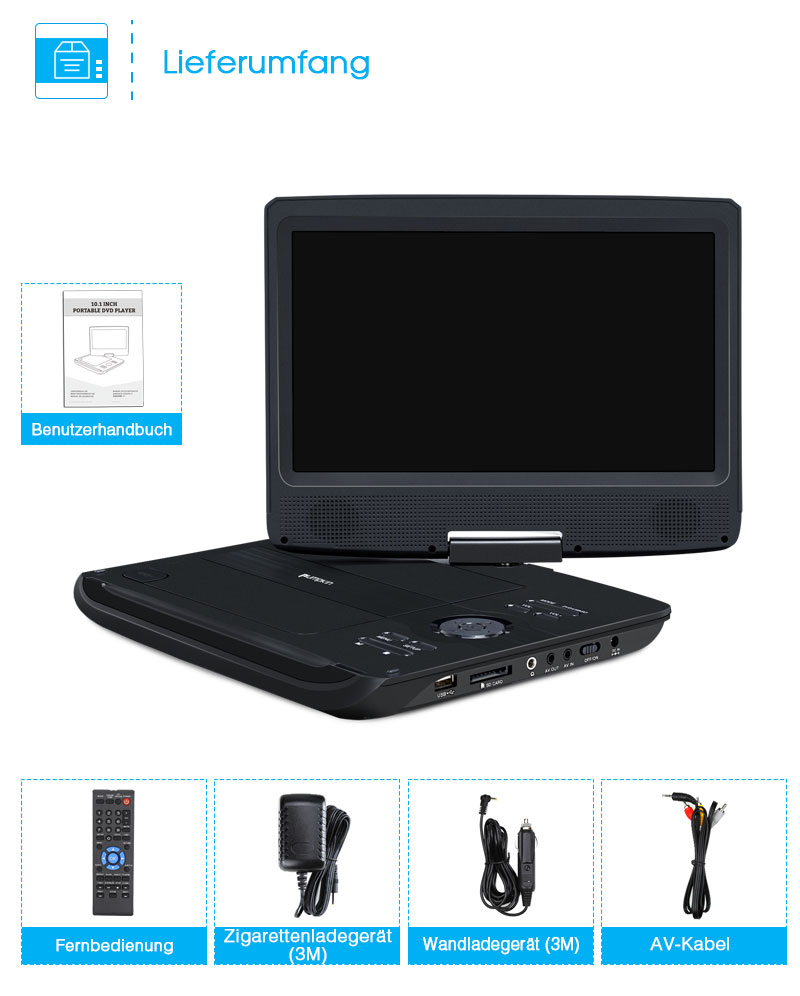 10 1 tragbare dvd player tft led monitor usb sd hd akku 5. Black Bedroom Furniture Sets. Home Design Ideas