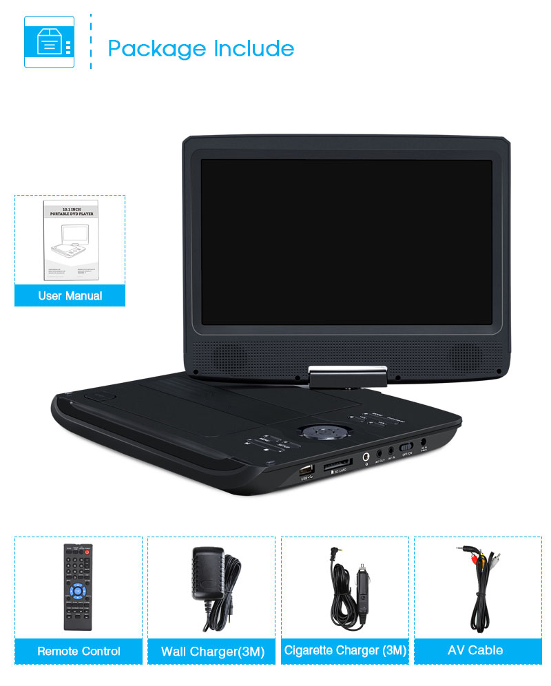 10 1 tragbarer auto cd dvd player tft display 32gb. Black Bedroom Furniture Sets. Home Design Ideas