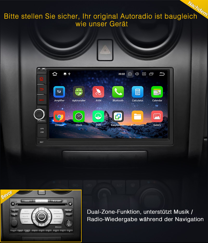 8 kern doppel 2 din android 8 0 autoradio 4gb 32gb gps. Black Bedroom Furniture Sets. Home Design Ideas